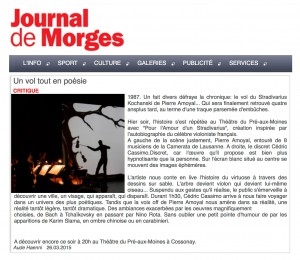 Journal de Morges (animation de sable Cedric Cassimo)